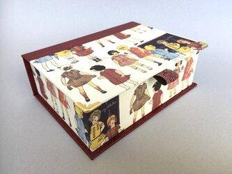 ハガキが入るサイズのブック型BOX(retro girl)の画像