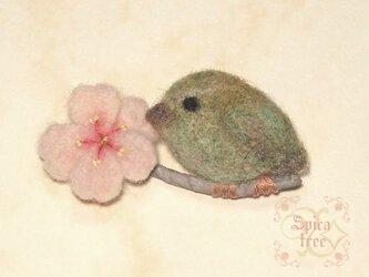 羊毛ブローチ「桜とうぐいす」の画像