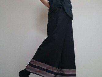ワイドパンツ着物和柄紫と黒コットンウエストゴムの画像