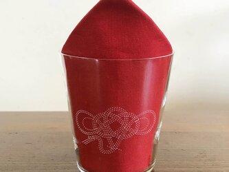 文字入れで特別なグラスに 水引デザイングラス(鶴)の画像