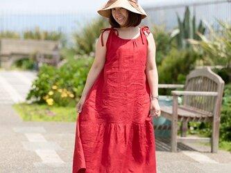 リネン 大人のサマードレス レッドの画像