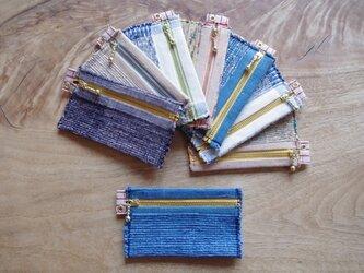 木綿・裂き織り カードケース (いろいろな色からお任せで1点)の画像