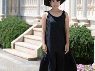 リネン 大人のサマードレス ブラックの画像
