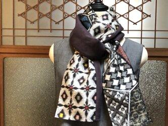 銘仙と播州織のスカーフ831 ストール 麻 リネン コットンの画像