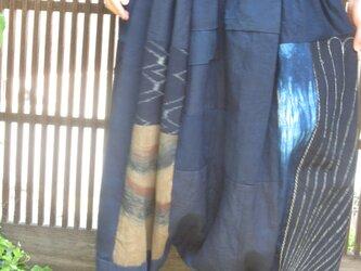 古布リメイク☆藍染布に刺し子風呂敷や柿渋布パッチ&パッチのサルエルパンツ♪の画像