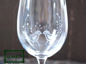 小鳥のワイングラス イニシャルを入れての画像