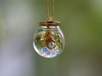 *夏の海* スパイラルシェル ガラスドームのハーバリウムネックレス の画像