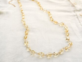 Faceted Citrine Long necklace w/ 14KGF  シトリンのロングネックレスの画像