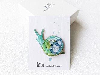 紫陽花カタツムリのブローチ(緑)の画像