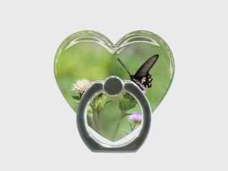 ハート型スマホリング 蝶の画像
