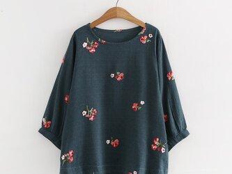 【受注製作】綿麻刺繍入り!可愛綿麻製トップス・ブラウス0981の画像