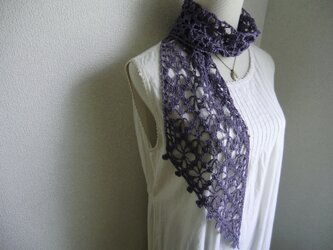 リネン 麻 花模様のストール(メランジバイオレット)の画像