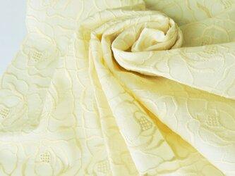 草木染刺繍ハンカチ 薔薇(イエロー)の画像