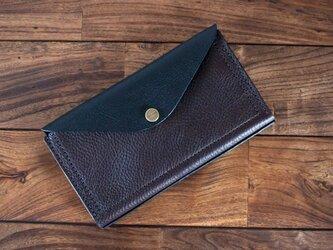イタリア製牛革のお財布ポーチ / チョコ / ブラック ※受注製作の画像