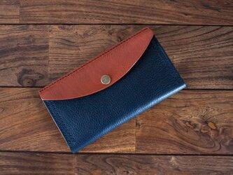 イタリア製牛革のコンビ長財布 / ネイビー / ライトブラウン※受注製作の画像