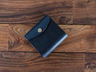 イタリア製牛革のコンビ二つ折り財布 / ブラック  / ネイビー※受注製作の画像