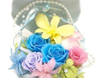 【プリザーブドフラワー/貝殻の中に咲く魔法の花たち】【専用フラワーケースリボンラッピング付き】の画像