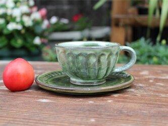 緑の器 カップとソーサ[18Jun-1]《釉薬》の画像