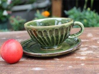 緑の器 カップとソーサ[18Jun-2]《釉薬》の画像