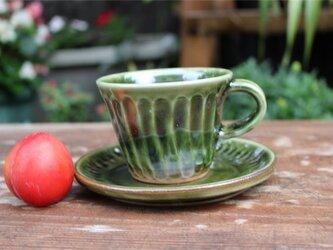 緑の器 カップとソーサ[18Jun-3]《釉薬》の画像