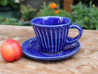 ルリ色の器 カップとソーサ[18Jun-6]《釉薬》の画像