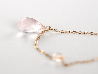 最高品質*サクラローズクォーツ+ハーキマダイヤモンド大粒ロングネックレス14Kgfの画像
