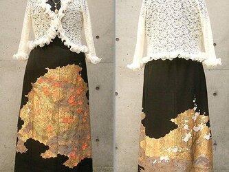 留袖リメイクスカート(紅梅白梅)の画像