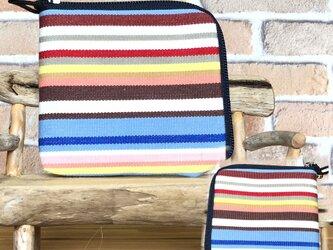 【薄い倉敷帆布財布】カード・お札・小銭一括収納 水色系縞柄  紺ファスナーの画像