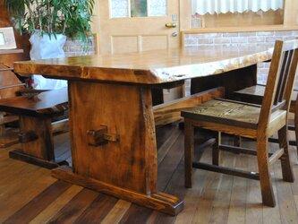漆塗り 一枚板テーブル 受注製作の画像