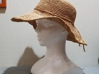 送料込み松編みの麦わら帽子の画像
