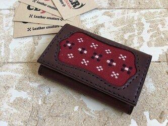 革の名刺&カードケース ブラウン×レッド 知花織り 赤 (織物シリーズ)の画像