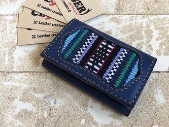 革の名刺&カードケース ネイビー×キャメル 伊波メンサー マチ付き (織物シリーズ)の画像