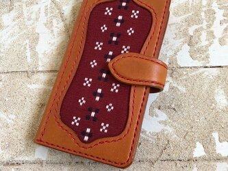 iPhone&android スマホケース 手帳型 キャメル×キャメル×糸レッド 知花織レッド (織物シリーズ)の画像