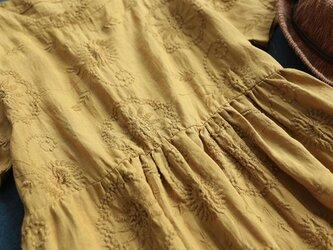【受注製作】手作100%麻・刺繍・ロング・天然麻生地 ワンピース TR3376 の画像