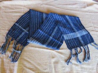 手織り コットンマフラー A0225aの画像