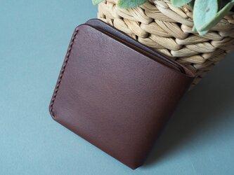 二つ折りカード財布(ブラウン&キャメル)の画像