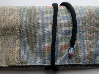 送料無料 色大島紬の着物で作った和風財布・ポーチ 3615の画像