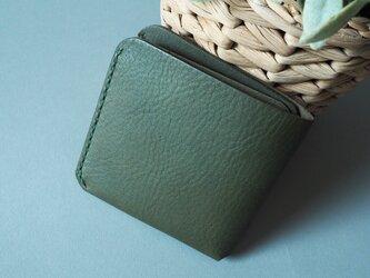 二つ折りカード財布(グリーン&キャメル)の画像