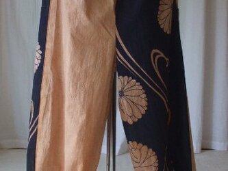 藍染浴衣を柿渋で染めたパンツ 木綿の画像