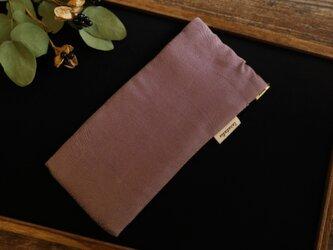 地曵いく子プロデュース 薄紫のリーフ柄 きものサングラスケース<小>の画像