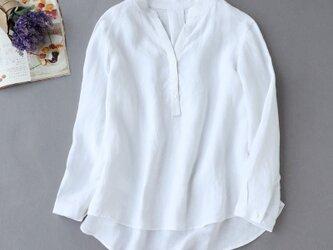 f8061011 洗練Vネックシャツ 白シャツ 長袖 リネン100% オフホワイトの画像
