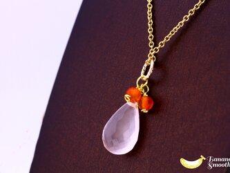 華麗にワンポイント♪宝石質 マダガスカル産 ローズクォーツ×カーネリアン 14kgfネックレスの画像