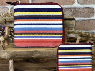 【薄い財布】倉敷帆布 カード・お札・小銭一括収納 二つ折り財布 赤系生地赤ファスナーの画像