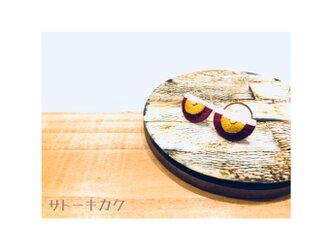 *扇型刺繍ピアス*(エンジ×カラシ)の画像