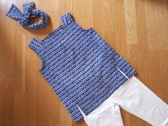 K's 紺にアルファベットのノースリーブトップス【受注制作】-浴衣(古布)からの画像