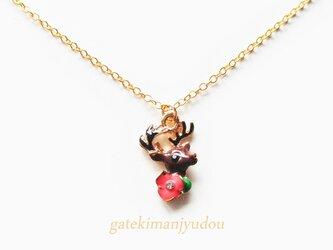 鹿と花のネックレス【長さ変更可】の画像