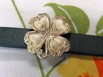真鍮ブラス製 四つ葉のクローバー型帯留め 着物や浴衣の帯締め飾り・ブレスレット飾りにの画像