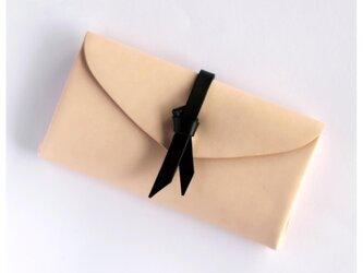 折りロングウォレット マグネットver#ベージュx黒/ ori long wallet #beige x blackの画像