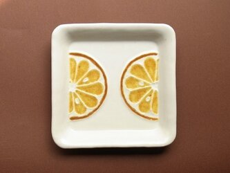 ガラス絵皿 四角 オレンジの画像