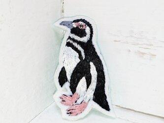 マゼランペンギンちゃん*刺繍ブローチの画像